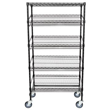 5 Tier Chrome Plated Steel Rack Good Display Sales Unit Slanted Wire Shelving