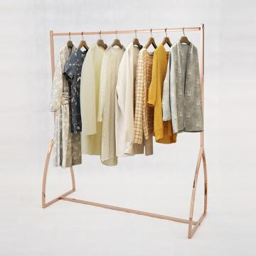 Clothing Store Display Rack with Wooden Shelf